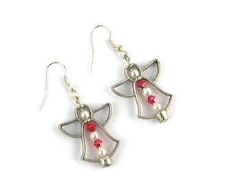 Silver earrings, soft night Angel, Christmas, advent calendar, guardian angel Swarovski crystal earrings, guardian angle, christmas