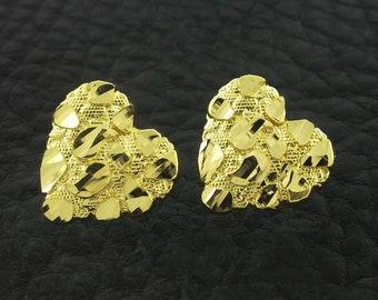 Yellow Gold Heart Nugget Stud Earrings, Heart earrings, Gold Heart Earrings, Nugget Earrings, Gold Nugget Earrings, Heart Nugget Earrings