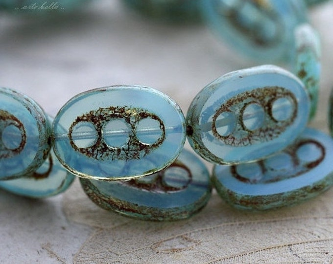 sale .. DOTTED LAGOON .. 4 Premium Picasso Czech Chunky Glass Beads 18x12mm (4450-4)
