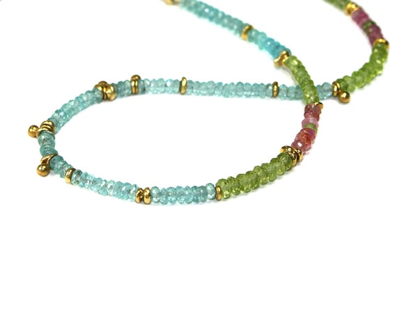 August Birthstone Jubjub Beaded Necklace. Colorful Layering Necklace in Gold Vermeil Apatite Peridot and Tourmaline.
