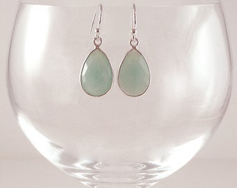 Pale Aqua Chalcedony Earrings Gemstone Earrings Light Sea Green Sterling Earrings Pale Blue Drop Earrings Aqua Sterling Teardrop Earrings