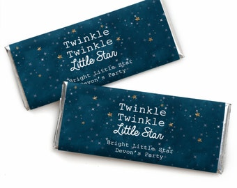 24 Twinkle Twinkle Little Star - Custom Candy Bar Wrappers - Personalized Baby Shower and 1st Birthday Party Favors