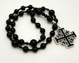 Anglican Rosary /  Protestant Prayer Beads / Anglican Prayer Beads in Black Onyx with Pewter Jerusalem Cross