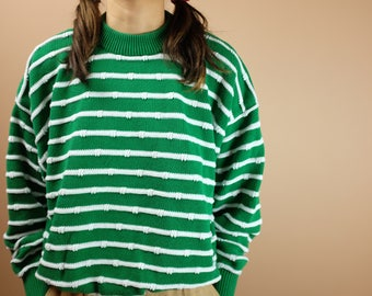 Vintage 90s Braemer Of Scotland Striped Sweater - Green White Stripes Sweater Shirt Pullover - Cute 1990s - Sz Medium/Large
