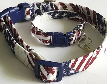 Patriotic Flag Collar for Dogs and Cats with Matching Friendship Charm Bracelet