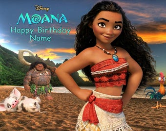 Moana Disney Edible Image Cake Topper Personalized Birthday 1/4 Sheet