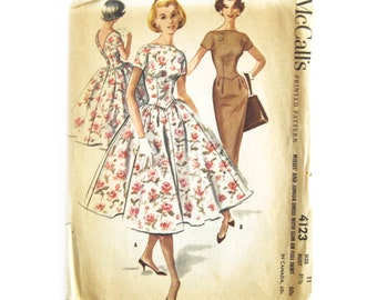 1957 Vintage Sewing Pattern / Full Skirt Dress with McCalls 4123 / Rockabilly DRESS / Bateau Neckline Basque Waist / Wiggle Dress / Size 11