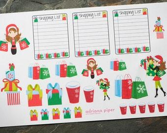 Christmas Shopping Spree Stickers for Erin Condren Life Planner, Plum Paper Planner, Filofax, Kikki K, Happy Planner or Scrapbook SH-116