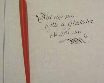 Red Dip Pen with a vintage Flex Gladiator Nib - Calligraphy - Spencerian writing
