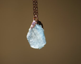 Fluorite Necklace | Crystal Pendant Necklace| Blue Crystal Necklace| Copper Electroformed Necklace| Copper Chain Necklace| Pendant Necklace