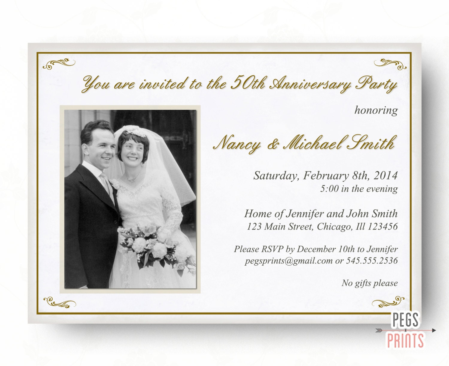 50th Anniversary Invitation 50th Wedding Anniversary