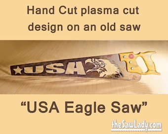Metal Art Eagle USA Americana design Hand cut (plasma) hand saw   Wall Decor   Garden Art   Recycled Art   Repurposed  - Made to Order