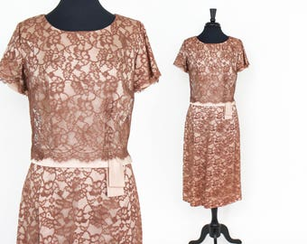 50s Lace Dress | Taupe & Brown Floral Midcentury Dress | A DuBarry Fashion | Extra Large