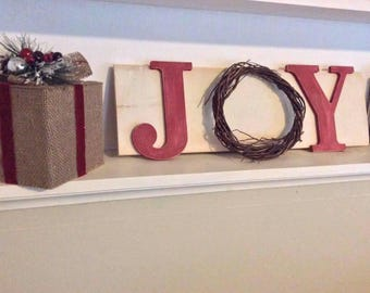 Rustic Christmas Holiday Sign Christmas Decor Sign Wood Joy Sign Distressed  Weathered Holiday Decor Winter Wall Decor Rustic Decor