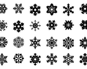 Snowflakes - Download Digital Clipart Silhouette Vector Files