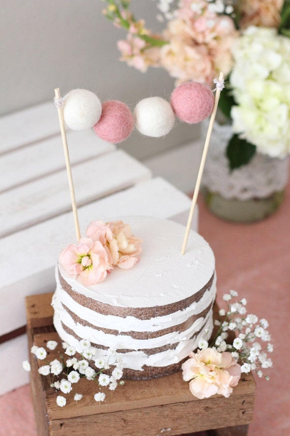 Light Pink White Felt Ball Cake Topper Wool