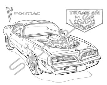 1978 PontiacFIREBIRD TRANS AM, Adult Coloring Page, Printable Coloring Page, Coloring Page for Adults, Digital Instant Download 1 page