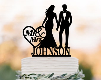 Personalized Wedding Cake topper letter, Cake Toppers with bride and groom silhouette, funny wedding cake toppers mr and mrs with monogram