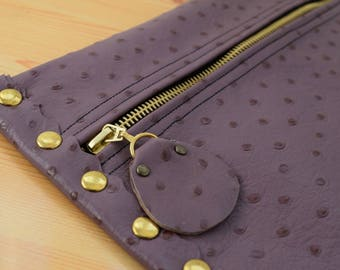 Leather clutch,purple leather purse,leather purse bag,ostrich leather clutch,purple handbag,leather clutches,violet leather bag,leather bag