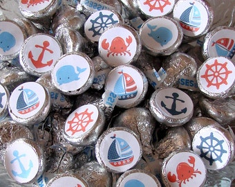 Nautical Party, Candy Stickers - Chocolate Kiss, Candy Labels - Sailboat Party, Candy Buffet, Printed