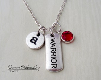 Warrior Necklace -  Motivational Word Jewelry - Monogram Personalized Initial and Birthstone