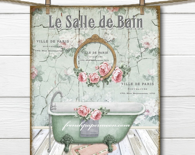 Shabby French Bathroom Print, Claw-foot Bathtub, Vintage Bath, French Bathroom, Digital, Large Size Graphic Transfer