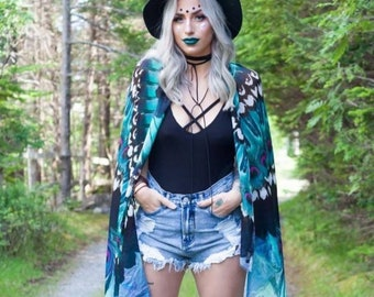 Turquoise Feather Cape - Feather Scarf - Wing Scarf - Bohemian Clothing - Festival Clothing - Bird Scarf - Statement Scarf - Wing Shawl