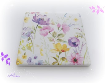 Flowers Ceramic Coaster, Individual Coaster, Pastel colours, Tea Time Gift Idea, Floral Gifts