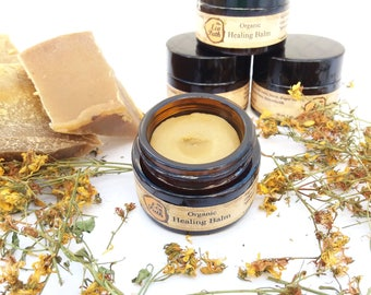 Organic Healing Balm First Aid Salve Beeswax ointment Organic lip balm Cold sore balm Baby Rash Balm Burn salve Insect Bites Balm 30 ml 1 oz