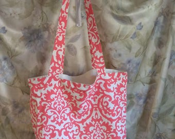 Sabrina,weekender bag, cream and orange tote, cloth handbag, great gift idea. Smartphone and tablet sleeves.Custom made