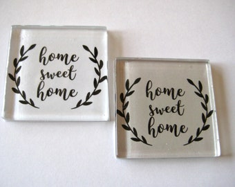 Home Sweet Home Square Glass Magnets Set of 2