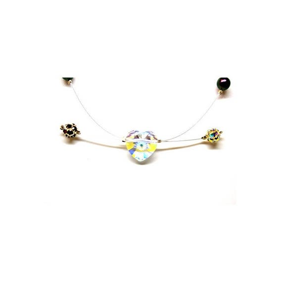 Necklace Swarovski heart and Strass beads and Pearl