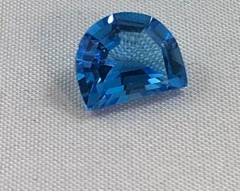 2.45 CT Half Moon Topaz  Genuine Blue Topaz Fancy Cut  10x8mm