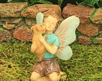 Boy Fairy Figure, Tiny Puppy Friend, Fairy Garden Figure, Fairy Garden Accessory, Miniature Garden,