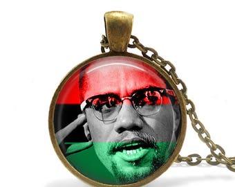 Malcolm X Pendant / NOI / Malcolm X / Muslim Necklace / Islam /el-Hajj Malik el-Shabazz
