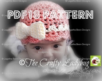 Bow beanie hat - crochet pattern - 8 sizes included - newborn to adult - PDF18 instant download
