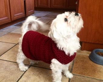 Crochet Dog Sweater / Small Size / Red Yarn / Customizable
