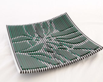 Fused Glass Sushi Dish - Broken Teal Green on B&W Striptes