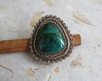 Vintage Isreal  filigree sterling silver pendant / brooch set with swirling green azurite
