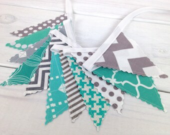 Bunting Banner Garland Baby Shower Baby Boy Nursery Decor Nursery Bunting Fabric Bunting Teal Blue Turquoise Gray Grey Chevron
