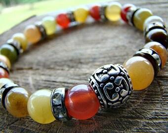 Agate Bracelet, Gemstone Beaded Bracelet, Bead Bracelet, Silver Bali Style Bead Bracelet, Stretch Bracelet, Womens Beaded Stretch Bracelet