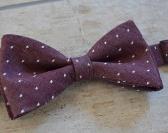 Mens bow tie,Burgundy chambray bow tie for men,mens bow tie,burgundy and white polka dots bow tie for men,Marsala bow tie
