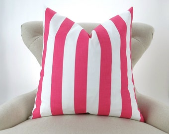 Pink Stripe Pillow Cover -MANY SIZES- Hot Pink White canopy awning decorative throw euro sham cushion modern bold Candy Pink Premier Prints