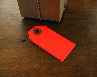 Neon Red Gift Tags, Parcel Tags, Set of 20