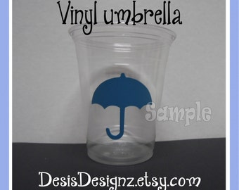 24 Baby shower Umbrella vinyl decals Boy baby shower decorations sprinkle party vinyl cup stickers Party cups Baby boy vynil stickers decal