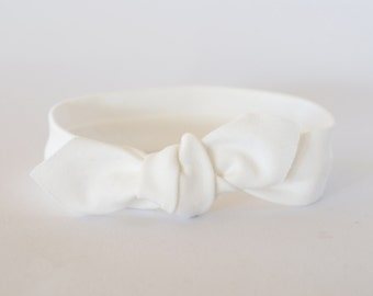 Newborn Headband, Baby Headband, White Organic Cotton, White Headband, Knotted Headband, Baby Topknot, Toddler Headband