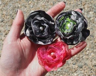 Singed satin and organza flower barrette