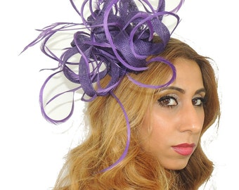 Purple Kremena Fascinator Hat for Kentucky Derby, Weddings on a Headband (40 colours available)