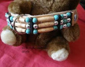 Dog collar with turquoise
