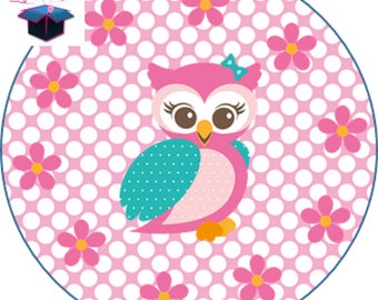 1 cabochon clear 30 mm OWL theme